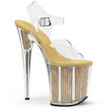 Ouro 20 cm FLAMINGO-808SRS Sandálias Plataforma de Cristal