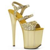 Ouro 20 cm FLAMINGO-874 brilho plataforma sandálias mulher