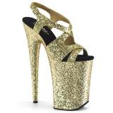 Ouro 23 cm INFINITY-930LG brilho plataforma salto alto mulher