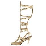 Ouro 9 cm GODDESS-12 sandália cano longo gladiadoras para mulher