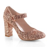 Ouro 9 cm SABRINA-07 sapatos scarpin com salto grosso