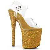 Ouro Brilhar 20 cm FLAMINGO-808LG Plataforma Sandálias Salto Agulha