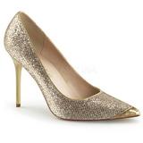 Ouro Brilho 10 cm CLASSIQUE-20 Sapatos Scarpin Salto Agulha