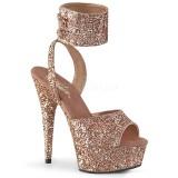 Ouro Brilho 15 cm DELIGHT-691LG sandálias de tiras no tornozelo