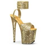 Ouro Brilho 20 cm Pleaser FLAMINGO-891LG Saltos Altos Plataforma