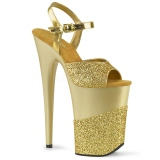 Ouro Brilho 23 cm INFINITY-909-2G Saltos Altos Plataforma