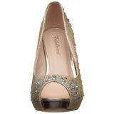 Ouro Cetim 13 cm HEIRESS-22R Pedra Cristal Plataforma Scarpin Calçados