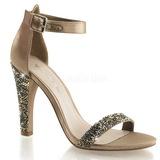 Ouro Cristal 11,5 cm CLEARLY-436 sandálias para noite de gala