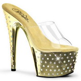 Ouro Cristal Platform 18 cm STARDUST-701 Chinelos Saltos Altos