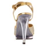 Ouro Glitter 12 cm FLAIR-419G Sandália Feminina Salto Alto