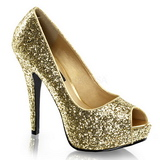 Ouro Glitter 13,5 cm TWINKLE-18G Plataforma Scarpin Salto Alto Peep Toe