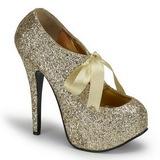 Ouro Glitter 14,5 cm TEEZE-10G Platform Scarpin Sapatos