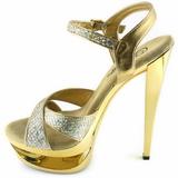 Ouro Glitter 16,5 cm Pleaser ECLIPSE-619G Stiletto Salto Agulha