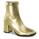 Ouro Imitação Couro 7,5 cm GOGO-150 botinha com salto grosso stretch