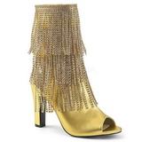 Ouro Imitação couro 10 cm QUEEN-100 numeros grandes botinha mulher