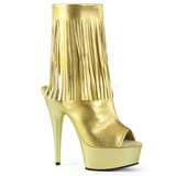 Ouro Imitacao de couro 15 cm DELIGHT-1019 botinha com franjas salto alto