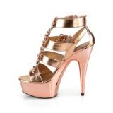 Ouro Imitação de couro 15 cm DELIGHT-658 sapatos pleaser de salto alto