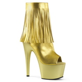 Ouro Imitacao de couro 18 cm ADORE-1019 botinha com franjas salto alto