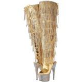 Ouro Imitação de couro 18 cm BEJRSF-7 botas com franjas salto alto