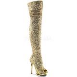 Ouro Lantejoulas 15 cm PLEASER BLONDIE-R-3011 bota plataforma acima do joelho