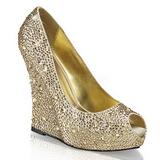 Ouro Pedra Cristal 13,5 cm ISABELLE-18 Sapato Scarpin Cunha Alto