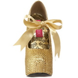 Ouro Pedra Cristal 14,5 cm Burlesque TEEZE-04R Plataforma Scarpin Salto Alto