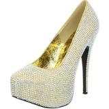 Ouro Pedra Cristal 14,5 cm Burlesque TEEZE-06R Plataforma Scarpin Salto Alto