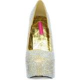 Ouro Pedra Cristal 14,5 cm TEEZE-06R Plataforma Scarpin Salto Alto