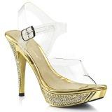 Ouro Strass 12 cm ELEGANT-408 Plataforma Sandálias Salto Agulha