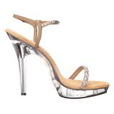 Ouro Strass 13 cm LIP-131 Plataforma Sandálias Salto Agulha
