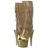 Ouro Strass 18 cm ADORE-2024RSF botas com franjas salto alto