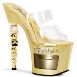 Ouro Transparente 18 cm Pleaser DICE-702-2 Plataforma Tamancos Altos