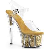 Ouro brilho 18 cm Pleaser ADORE-708G sapatos de saltos pole dance
