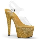 Ouro brilho 18 cm Pleaser ADORE-708HMG sapatos de saltos pole dance