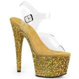 Ouro brilho 18 cm Pleaser ADORE-708LG sapatos de saltos pole dance