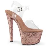 Ouro brilho 18 cm Pleaser SKY-308LG sapatos de saltos pole dance