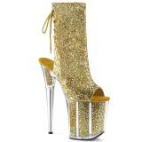 Ouro brilho 20 cm FLAMINGO-1018G botinha de saltos pole dance