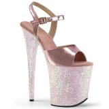 Ouro brilho 20 cm Pleaser FLAMINGO-809LG sapatos de saltos pole dance