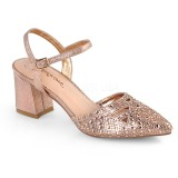 Ouro brilho 7 cm Fabulicious FAYE-06 sandálias de salto alto mulher