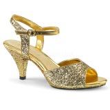 Ouro brilho 8 cm Fabulicious BELLE-309G sandálias de salto alto mulher