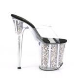 Ouro glitter plataforma 20 cm FLAMINGO-801CG chinelo com salto alto pleaser