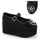 Pentagrama lona 8 cm CLICK-02-2 sapatos de mulher góticos