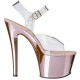 Pink Transparente 18 cm SKY-308 Plataforma Salto Agulha
