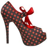 Pontos Vermelho 14,5 cm Burlesque TEEZE-25 Preto Scarpin Saltos Altos