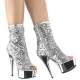 Prata 15 cm DELIGHT-1008SQ botinha mulher com lantejoulas