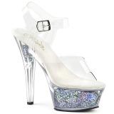 Prata 15 cm KISS-208GF brilho plataforma sandálias mulher