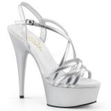 Prata 15 cm Pleaser DELIGHT-613 Sandálias de salto alto