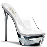 Prata 16,5 cm Pleaser ECLIPSE-601DM Strass Plataforma Tamancos Altos