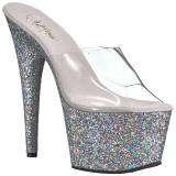 Prata 18 cm ADORE-701LG brilho plataforma tamancos mulher