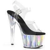 Prata 18 cm ADORE-708HGI Holograma plataforma salto alto mulher